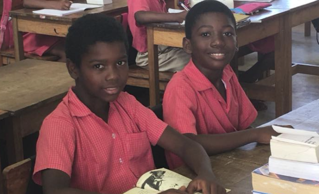 Students in Seychelles enjoy reading materials from a recent BFA shipment