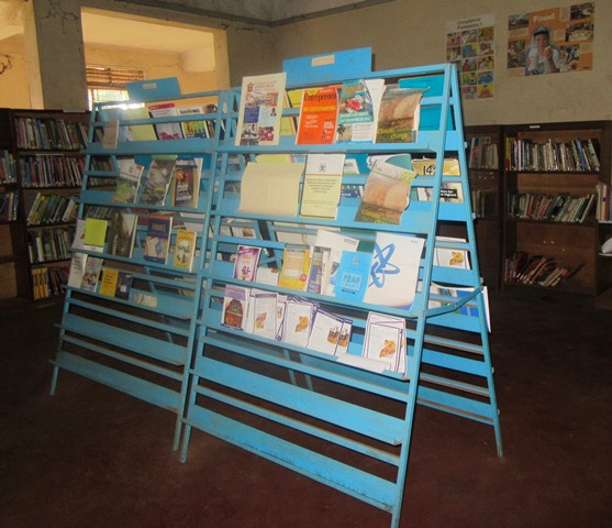 A display promoting children's books at the Jinja Municipal Library