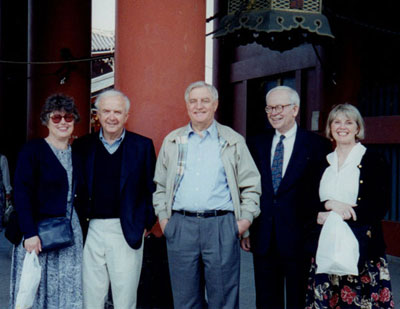 From left: Marge and Warren Spannaus, Walter Mondale, Jack and Vivian Mason