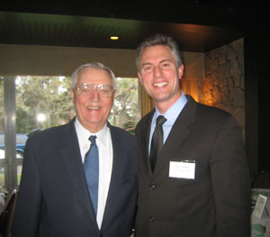 Former U.S. Vice President Walter Mondale, co-chair of the Jack Mason Law & Democracy Initiative Advisory Board, and Thomson Reuters Vice President Tom Pfeifer, Advisory Board member, at a Books For Africa event.