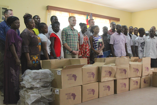 The delivery of 27 boxes of books was cause for celebration at the Garoua Linguistic Center